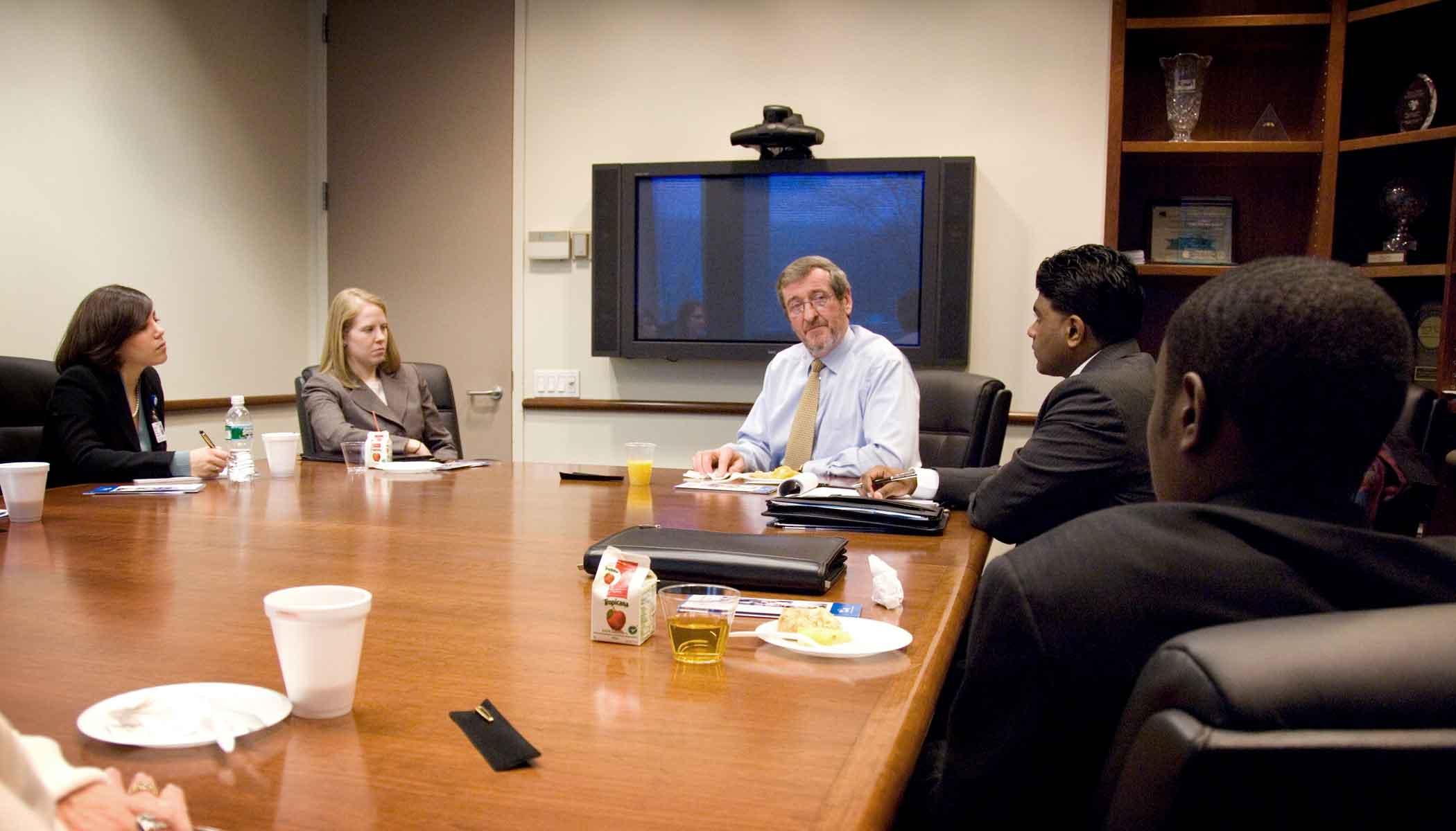Michael speaks with administrators